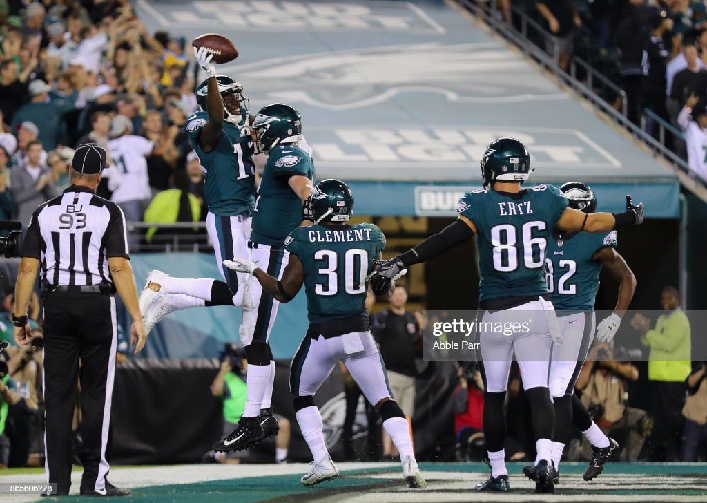 Nelson Agholor #13 of the Philadelphia Eagles celebrates scoring a touchdown against the Washington Redskins during the fourth quarter of the game at Lincoln Financial Field on October 23, 2017 in Philadelphia, Pennsylvania.