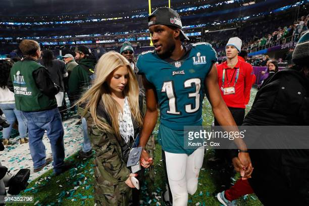 Nelson Agholor of the Philadelphia Eagles celebrates with girlfriend Viviana Volpicelli after his teams 4133 win over the New England Patriots in...