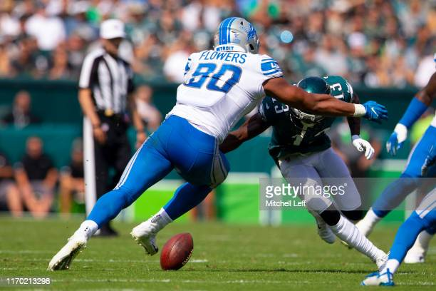Nelson Agholor of the Philadelphia Eagles fumbles the ball against Trey Flowers of the Detroit Lions in the second quarter at Lincoln Financial Field...