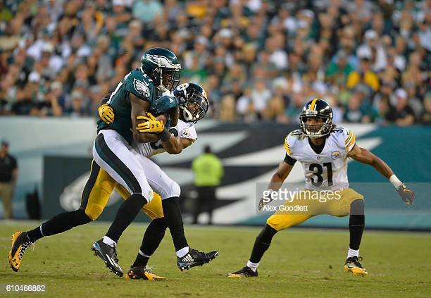 Nelson Agholor of the Philadelphia Eagles is brought down by Mike Mitchell of the Pittsburgh Steelers in the fourth quarter at Lincoln Financial...