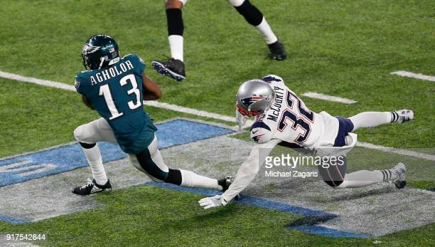 Nelson Agholor of the Philadelphia Eagles makes a reception for a 10yard gain during the game against the New England Patriots in Super Bowl LII at...