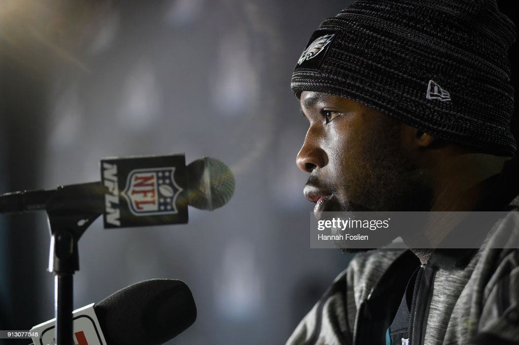 Nelson Agholor #13 of the Philadelphia Eagles speaks to the media during Super Bowl LII media availability on February 1, 2018 at Mall of America in Bloomington, Minnesota. The Philadelphia Eagles will face the New England Patriots in Super Bowl LII on February 4th.