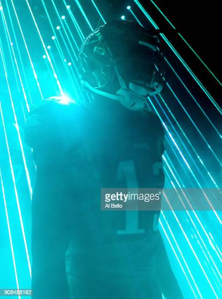 Nelson Agholor of the Philadelphia Eagles walks out on to the field prior to the NFC Championship game against the Minnesota Vikings at Lincoln...