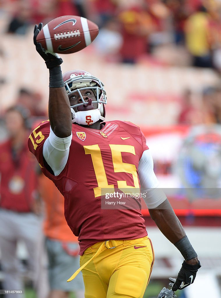 Nelson Agholor #15 of the USC Trojans warms up before the game against the Utah State Aggies at the Los Angeles Memorial Coliseum on September 21, 2013 in Los Angeles, California.
