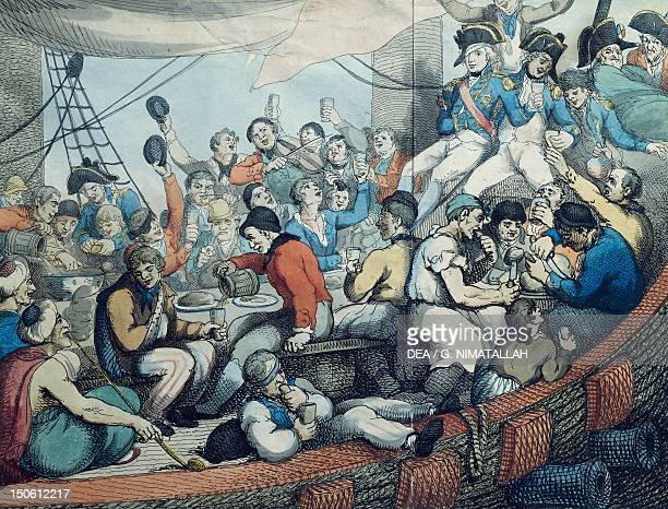 Nelson and his officers celebrating after the victory over Napoleon's troops at Aboukir 1798 French Revolutionary Wars Egypt 18th century
