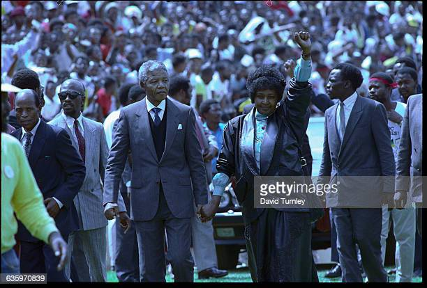 Nelson and Winnie Mandela at a rally in Soweto in 1990 following his release from prison.