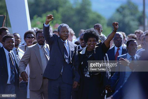 Nelson and Winnie Mandela During Release Celebration