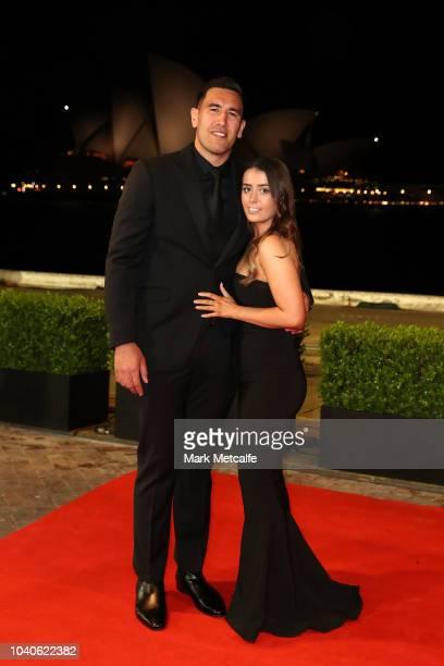 Nelson AsofaSolomona and his partner arrive at the 2018 Dally M Awards at Overseas Passenger Terminal on September 26 2018 in Sydney Australia
