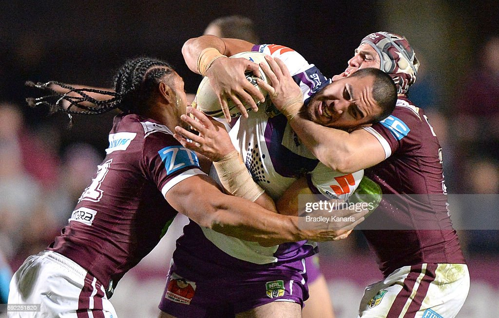 Nelson Asofa-Solomona of the Storm attempts to break through the defence during the round 24 NRL match between the Manly Sea Eagles and the Melbourne Storm at Brookvale Oval on August 20, 2016 in Sydney, Australia.