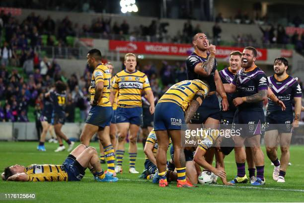 Nelson Asofa-Solomona of the Storm celebrates his try during the NRL Semi Final match between the Melbourne Storm and the Parramatta Eels at AAMI...