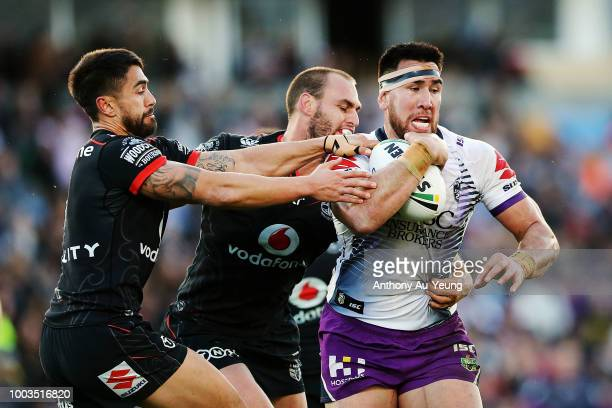 Joseph Vuna of the Warriors charges forward during the round 19 NRL match between the New Zealand Warriors and the Melbourne Storm at Mt Smart...