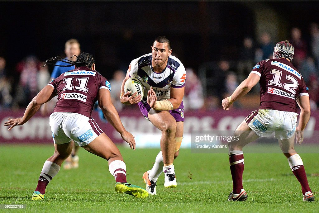 Nelson Asofa-Solomona of the Storm looks to take on the defence during the round 24 NRL match between the Manly Sea Eagles and the Melbourne Storm at Brookvale Oval on August 20, 2016 in Sydney, Australia.