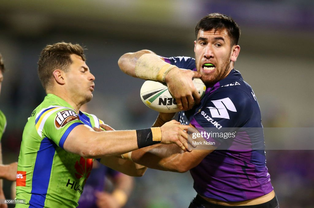Nelson Asofa-Solomona of the Storm runs the ball during the round 20 NRL match between the Canberra Raiders and the Melbourne Storm at GIO Stadium on July 22, 2017 in Canberra, Australia.