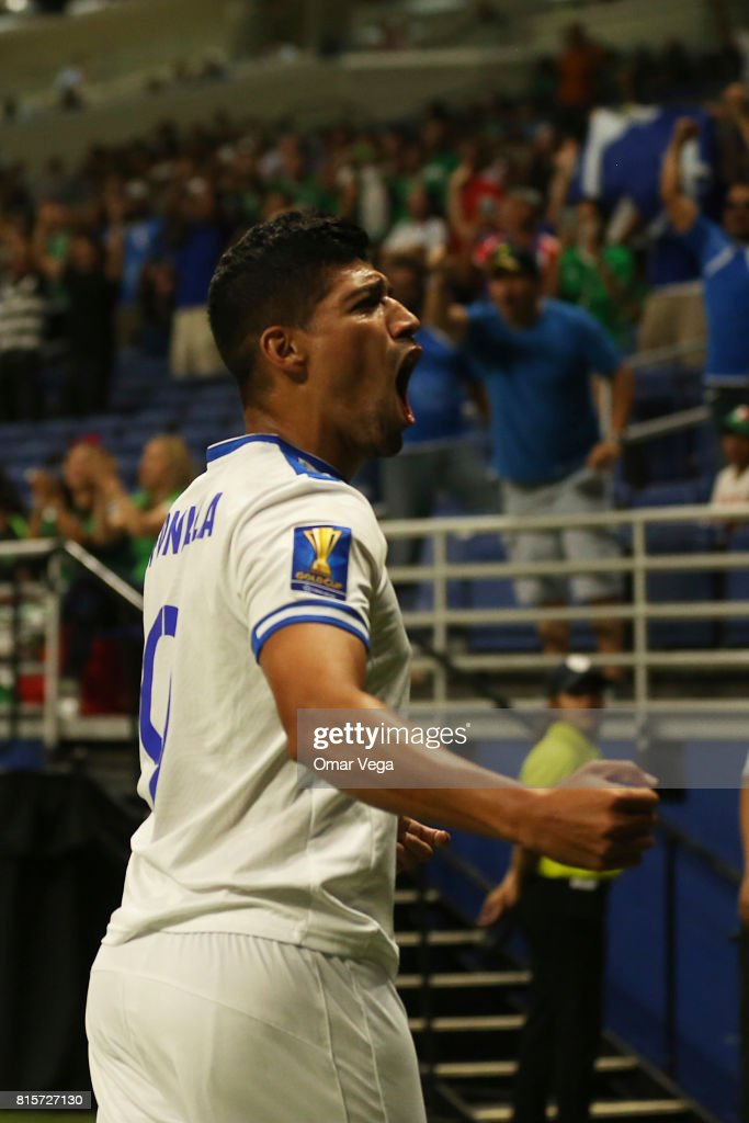 Nelson Bonilla of El Salvador celebrates after scoring the first goal of his team during a Group C match between Jamaica and El Salvador as part of CONCACAF Gold Cup 2017 at the Alamodome on July 16, 2017 in San Antonio, Texas, US.