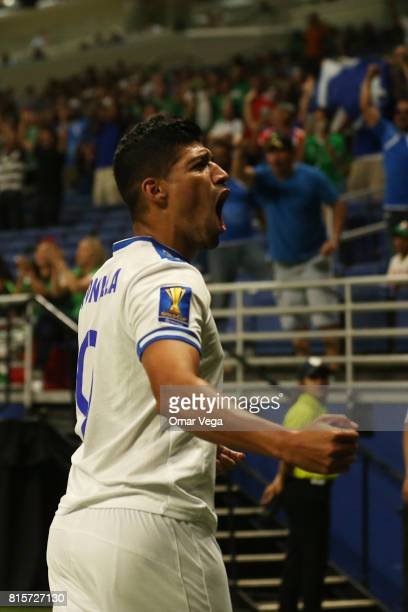 Nelson Bonilla of El Salvador celebrates after scoring the first goal of his team during a Group C match between Jamaica and El Salvador as part of...