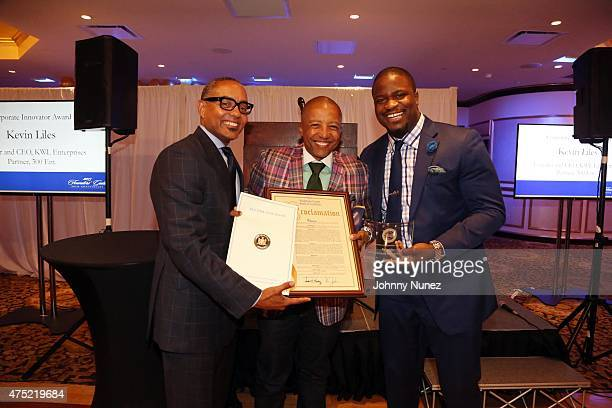 Nelson Boyce Kevin Liles and Jameel McClain attend The 56th Anniversary Founders Gala at The Surf Club on May 29 in New Rochelle City