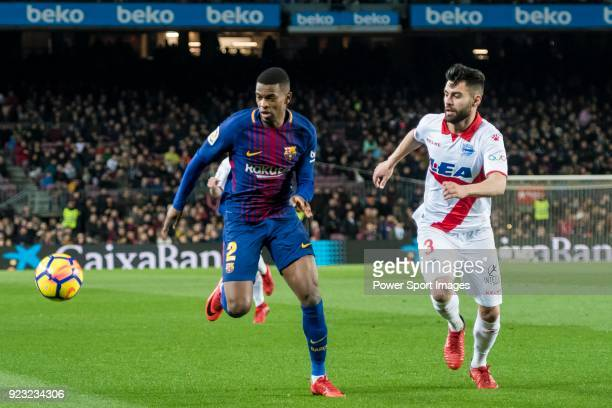 Nelson Cabral Semedo of FC Barcelona battles for the ball with Ruben Duarte of Deportivo Alaves during the La Liga 201718 match between FC Barcelona...