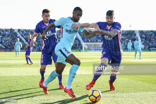 Nelson Cabral Semedo of FC Barcelona fights for the ball with Gabriel Appelt Pires of CD Leganes and Diego Rico Salguero during the La Liga 201718...