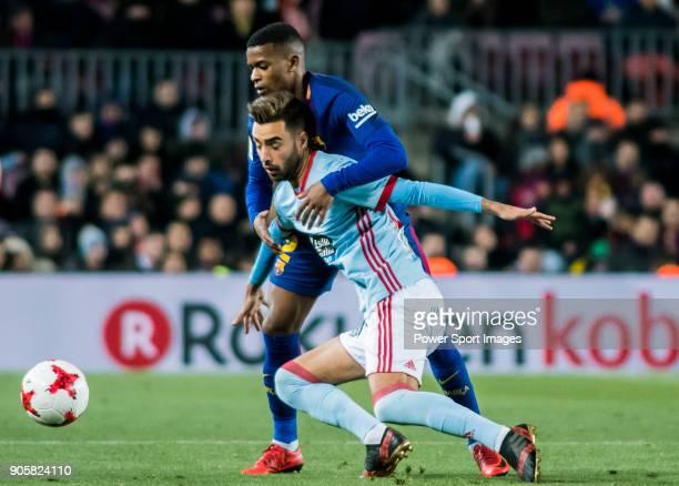 Nelson Cabral Semedo of FC Barcelona fights for the ball with Jozabed Sanchez Ruiz of RC Celta de Vigo during the Copa Del Rey 201718 Round of 16...