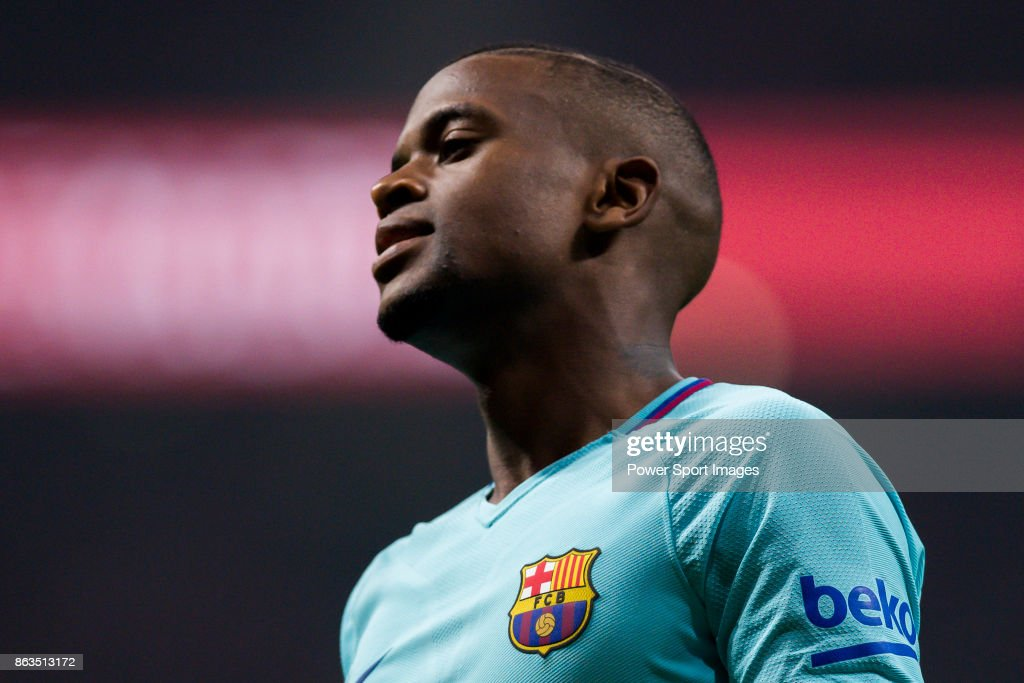 Nelson Cabral Semedo of FC Barcelona reacts during the La Liga 2017-18 match between Atletico de Madrid and FC Barcelona at Wanda Metropolitano on 14 October 2017 in Madrid, Spain.