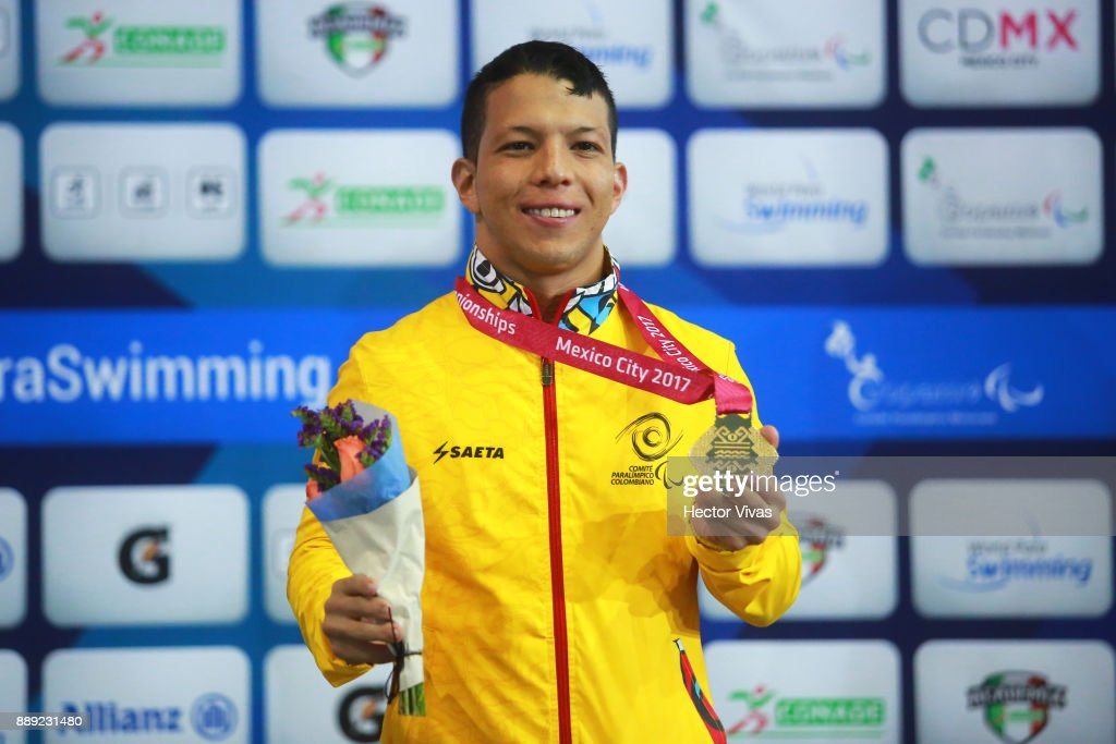 Nelson Crispin of Colombia wins Gold Medal in men's 200 m Individual Medley M6 during day 7 of the Para Swimming World Championship Mexico City 2017 at Francisco Marquez Olympic Swimming Pool. on December 7, 2017 in Mexico City, Mexico.