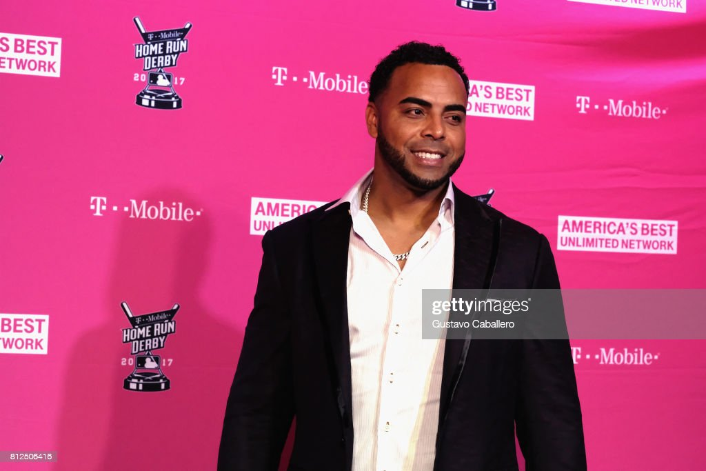 Nelson Cruz arrives at the T-Mobile Presents Derby After Dark at Faena Forum on uly 10, 2017 in Miami Beach, Florida.