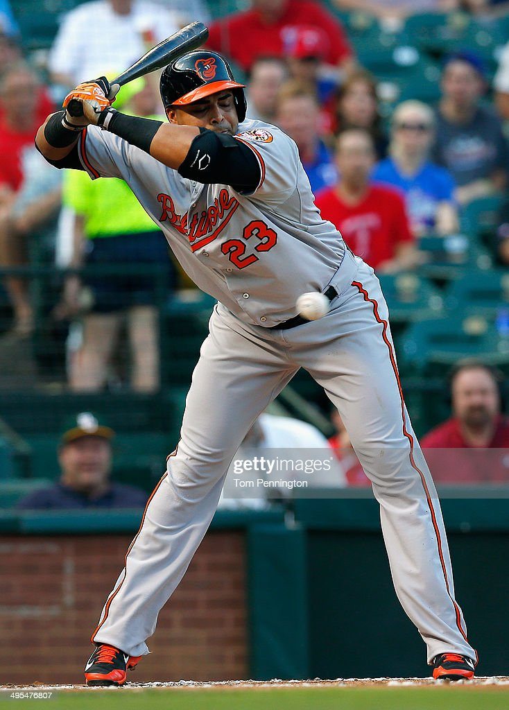 Nelson Cruz #23 of the Baltimore Orioles backs off an inside pitch against the Texas Rangers in the top of the first inning at Globe Life Park in Arlington on June 3, 2014 in Arlington, Texas.