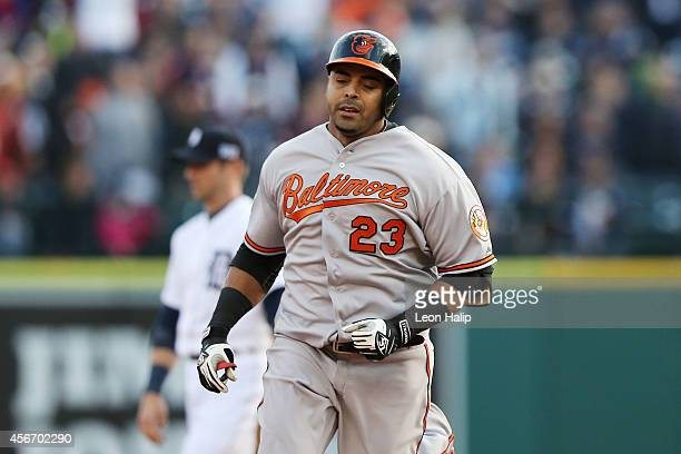 Nelson Cruz of the Baltimore Orioles rounds the bases after hitting a home run in the sixth inning against the Detroit Tigers during Game Three of...