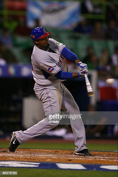 Nelson Cruz of The Dominican Republic bats against The Netherlands during the 2009 World Baseball Classic Pool D match on March 10 2009 at Hiram...