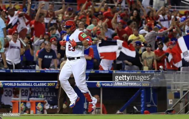 Nelson Cruz of the Dominican Republic is celebrates after hitting a three run home run during the eighth inning of a Pool C game of the 2017 World...