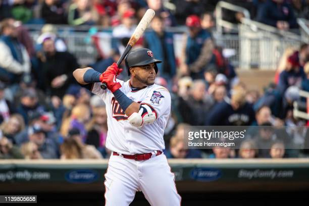 Nelson Cruz of the Minnesota Twins bats against the Cleveland Indians on March 28 2019 at the Target Field in Minneapolis Minnesota The Twins...