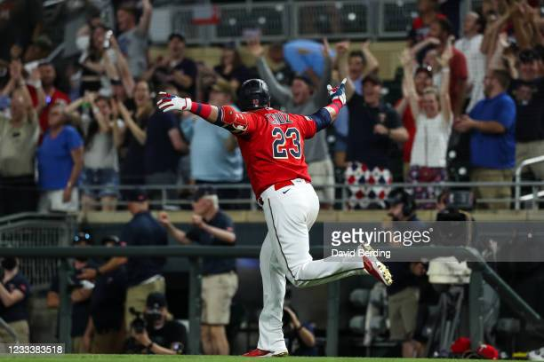 Nelson Cruz of the Minnesota Twins celebrates his two-run walk off home run against the New York Yankees in the ninth inning of the game at Target...