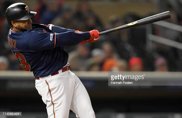 Nelson Cruz of the Minnesota Twins hits an RBI double against the Houston Astros during the eighth inning of the game on May 1 2019 at Target Field...