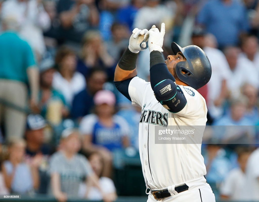 Nelson Cruz #23 of the Seattle Mariners celebrates his solo home run in the third inning against starting pitcher Jason Vargas #51 of the Kansas City Royals at Safeco Field on July 5, 2017 in Seattle, Washington.