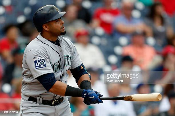Nelson Cruz of the Seattle Mariners hits a three run home run against the Washington Nationals during the sixth inning at Nationals Park on May 25...