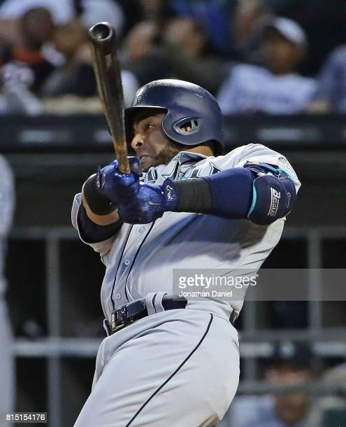 Nelson Cruz of the Seattle Mariners hits a two run home run in the 6th inning against the Chicago White Sox at Guaranteed Rate Field on July 15 2017...