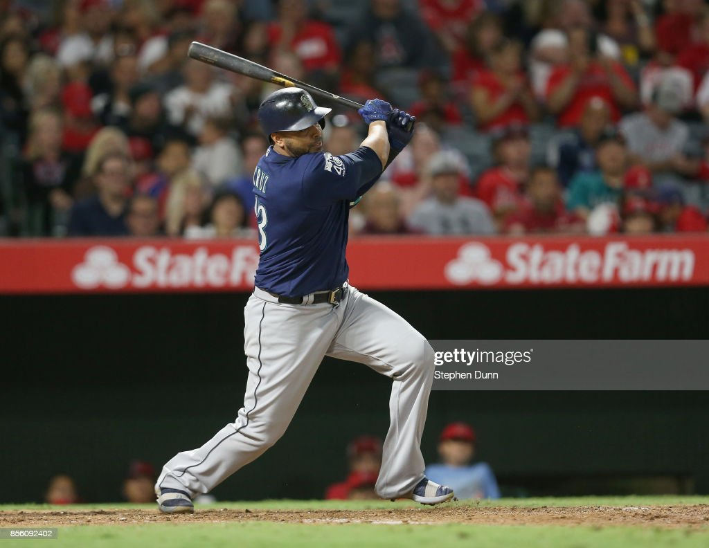 Nelson Cruz #23 of the Seattle Mariners hits an RBI single in the eighth inning against the Los Angeles Angels of Anaheim on September 30, 2017 at Angel Stadium of Anaheim in Anaheim, California.