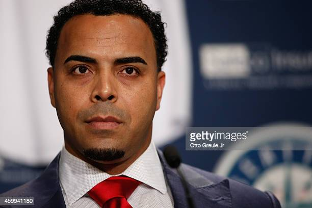 Nelson Cruz of the Seattle Mariners looks on during his introductory press conference at Safeco Field on December 4 2014 in Seattle Washington