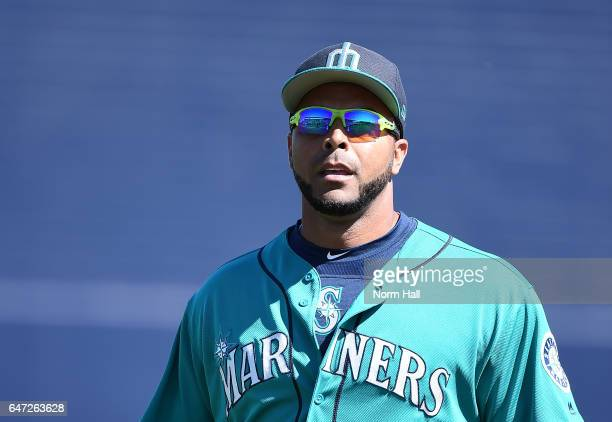 Nelson Cruz of the Seattle Mariners prepares for a game against the Milwaukee Brewers at Peoria Stadium on March 2 2017 in Peoria Arizona