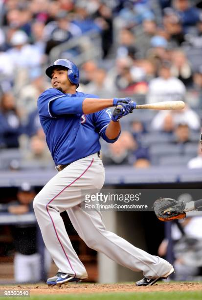 Nelson Cruz of the Texas Rangers bats against the New York Yankees at Yankee Stadium on April 17 2010 in the Bronx borough of Manhattan