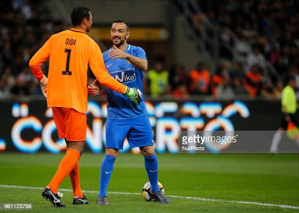 Nelson Dida and Fabio Quagliarella during La Notte del Maesto the last match of Andrea Pirlo in Milan on May 21 2018