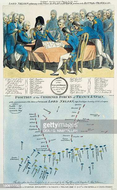 Nelson discussing the battle plan for Trafalgar Napoleonic Wars England 19th century
