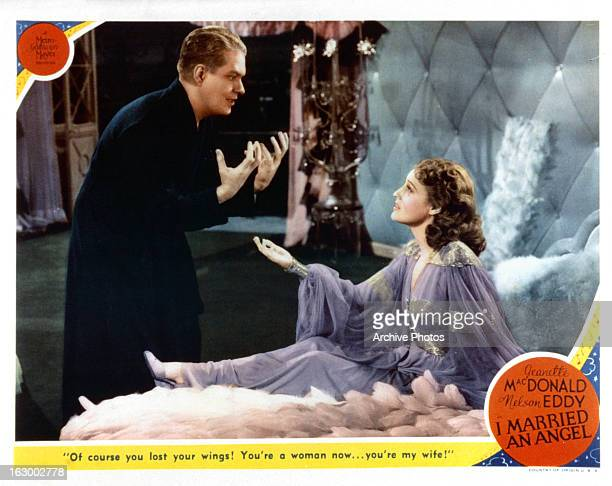 Nelson Eddy pleads to Jeanette MacDonald in a scene from the film 'I Married An Angel' 1942