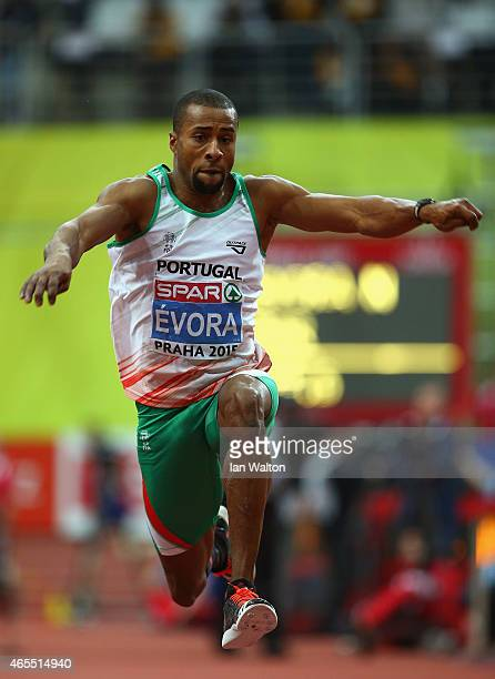 Nelson Evora of Portgual competes in the Men's Triple Jump Final during day two of the 2015 European Athletics Indoor Championships at O2 Arena on...