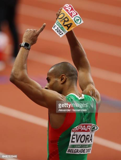 Nelson Evora of Portugal celebrates after winning the gold medal during the Men's Triple Jump final on day three of the 2017 European Athletics...