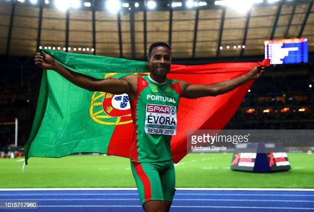 Nelson Evora of Portugal celebrates winning gold in the Men's Triple Jump final during day six of the 24th European Athletics Championships at...