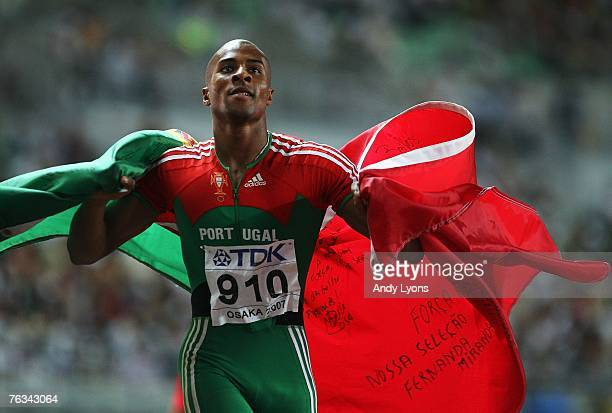 Nelson Evora of Portugal celebrates winning the Men's Triple Jump Final on day three of the 11th IAAF World Athletics Championships on August 27 2007...