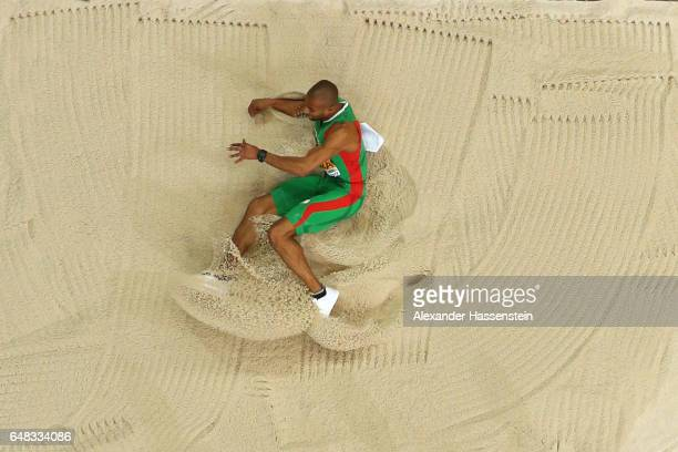 Nelson Evora of Portugal comeptes in the triple jump qualification on day one of the 2017 European Athletics Indoor Championships at the Kombank...