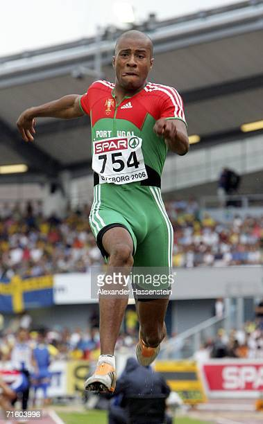 Nelson Evora of Portugal competes during the Men's Long Jump Final on day two of the 19th European Athletics Championships at the Ullevi Stadium on...