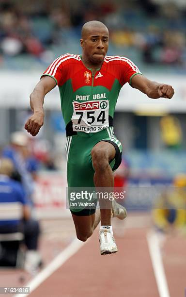 Nelson Evora of Portugal competes during the Men's Triple Jump Final on day six of the 19th European Athletics Championships at the Ullevi Stadium on...